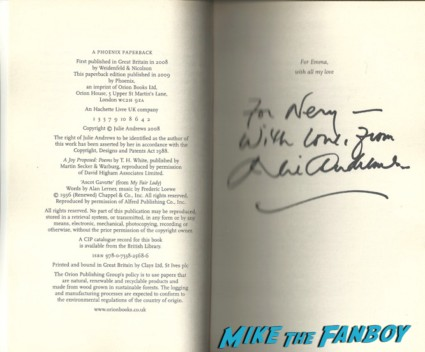 Julie Andrews signed autograph mary poppins rare promo book signed autograph hot rare