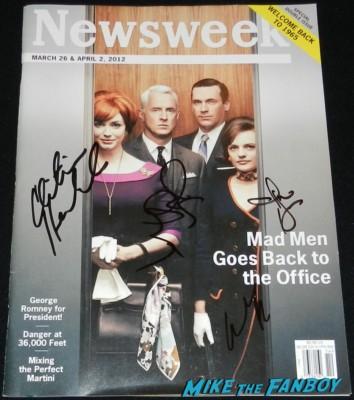 Mad Men newsweek magazine cover signed autograph christina hendricks jon hamm john slattery elisabeth moss