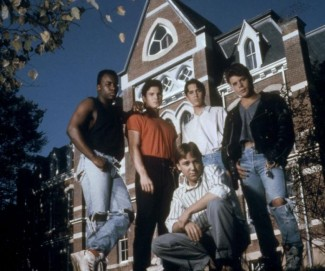 TOY SOLDIERS, l-r: T.E. Russell, George Perez, Wil Wheaton, Sean Astin, Keith Coogan (front), 1991. ©TriStar Pictures