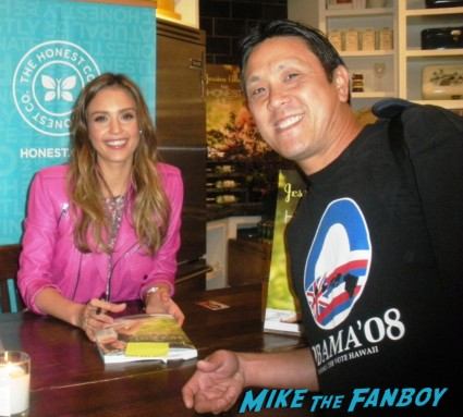 Jessica Alba signing autographs for fans at her book signing for Jessica Alba the honest life book signing in the bay area san francisco