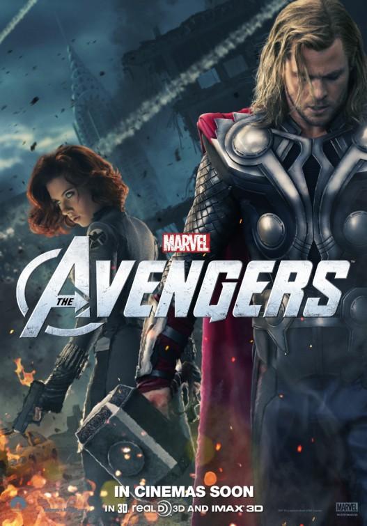 The Avengers rare promo poster chris hemsworth hot sexy thor rare promo scarlett johansson