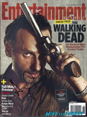 andrew lincoln signed autograph entertainment weekly magazine cover rare promo hot the walking dead star