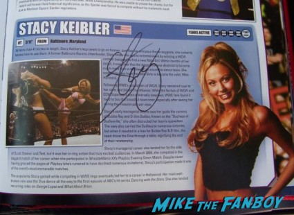 stacey keibler signed autograph wrestling book signing autographs for fans hot sexy wcw star rare promo ms. george clooney rare promo