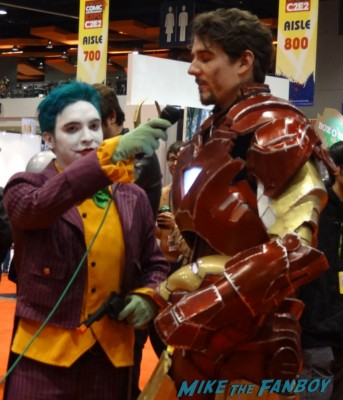c2e2 cosplayers 2013 iron man tony stark getting interviewed by the joker