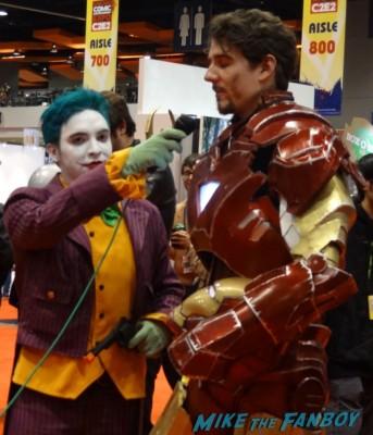 c2e2 cosplayers 2013 iron man tony stark getting interviewed by the joker