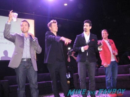 the backstreet boys at the 20th anniversary fan event brian from the backstreet boys the cowd of girl Backstreet boys 20 year fan celebration rare promo hot fonda theater marquee rare