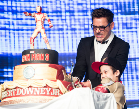 Robert Downey Jr. Signing Autographs for fans at his birthday party event in hollywood