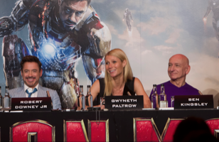 Iron man 3 london press conference rare robert downey jr. Gwyneth Paltrow, Don Cheadle, Guy Pearce, Rebecca Hall, Stephanie Szostak, James Badge Dale with Jon Favreau and Ben Kingsley