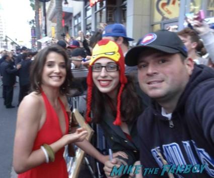 Cobie Smulders signing autographs at the Iron Man 3 world movie premiere el capitan theater rare robert downey jr. rare promo