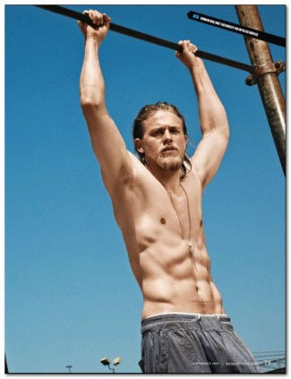charlie hunnam naked shirtless rare promo muscle pecs sons of anarchy jax teller rare promo  men's fitness magazine