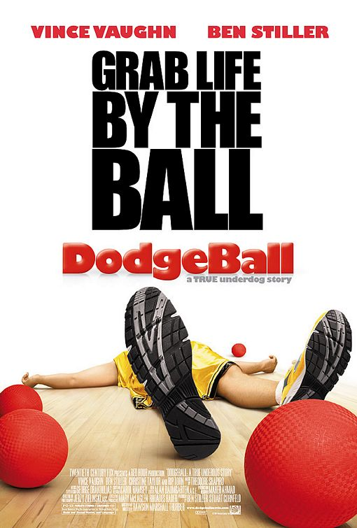 dodgeball_ver2 movie poster rare promo hot Dodgeball logo rare promo title dodgeball a true underdog story movie poster rare promo globo gym ben stiller one sheet movie poster