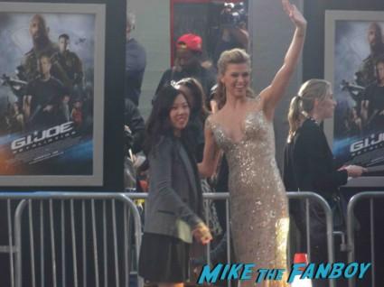 Adrianne Palicki arriving to the  g.i. joe retaliation movie premiere report red carpet rare promo bruce willis red carpet the rock