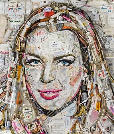 lindsay lohan trash portrait painting yeah rare promo