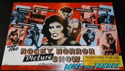 tim curry patricia quinn nell campbell little nell signed autograph rocky horror picture show mini poster patricia quinn nell campbell signing autographs for fans 029