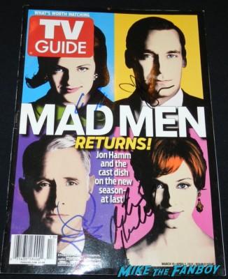 elisabeth moss christina hendricks jon hamm john slattery signed autograph TV Guide magazine cover are