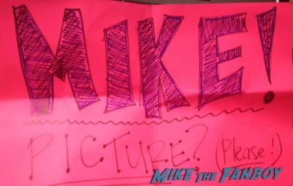 pinky making a sign to meet mike myers at the wayne's world reunion promo poster mini hot rare ticket stub rare promo 20th anniversary screening logo rare