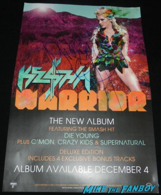 Ke$ha kesha signed autograph promo mini warrior poster signing autographs kesha hot sexy rare fan photo 030