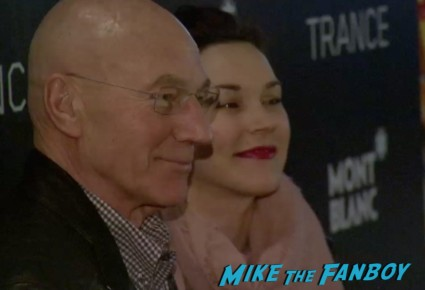 patrick stewart on the red carpet at the trance movie premiere new york red carpet photos rosario dawson