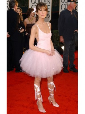 Laura Flynn Boyle wearing a tutu to the golden globe awards  hot sexy rare red carpet photo before plastic surgery hot twin peaks rare