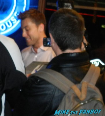 lance bass signing autographs for fans at pieces of ass 10th anniversary at the ford theater