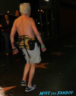ugly naked shirtless man walking around hollywood blvd zachary levi from chuck signing autographs for fans at pieces of ass 10th anniversary at the ford theater