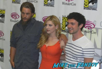 the cast of vikings at wonder con travis fimmel katheryn win nick george blagden press room wondercon 2013