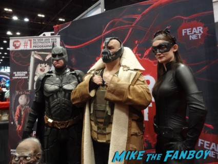 bane and the dark knight cosplayers at the Chicago Comic and entertainment expo c2e2 banner logo rare