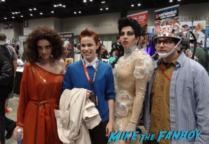 ghostbusters cosplayers at the Chicago Comic and entertainment expo c2e2 banner logo rare