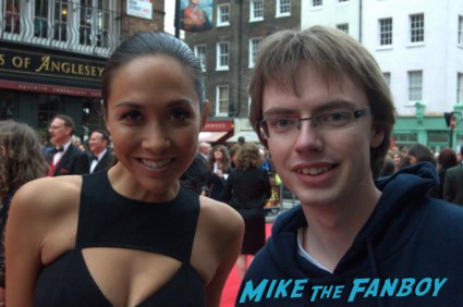 Myleene Klass signing autographs at the The olivier awards red carpet 2013 with daniel radcliffe kim cattrall rre signing autographs