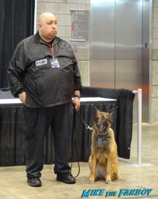 bomb sniffing dogs at the Chicago Comic and entertainment expo c2e2 banner logo rare