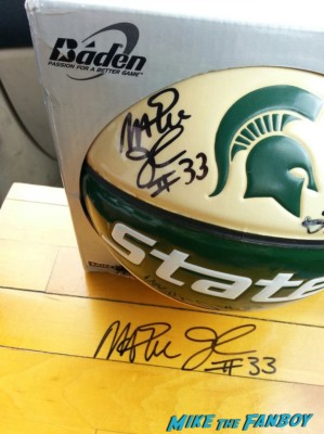 Magic Johnson signed autograph Michigan state university basketball and floorboard rare