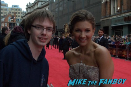 Summer Strallen signing autographs at the The olivier awards red carpet 2013 with daniel radcliffe kim cattrall rre signing autographs