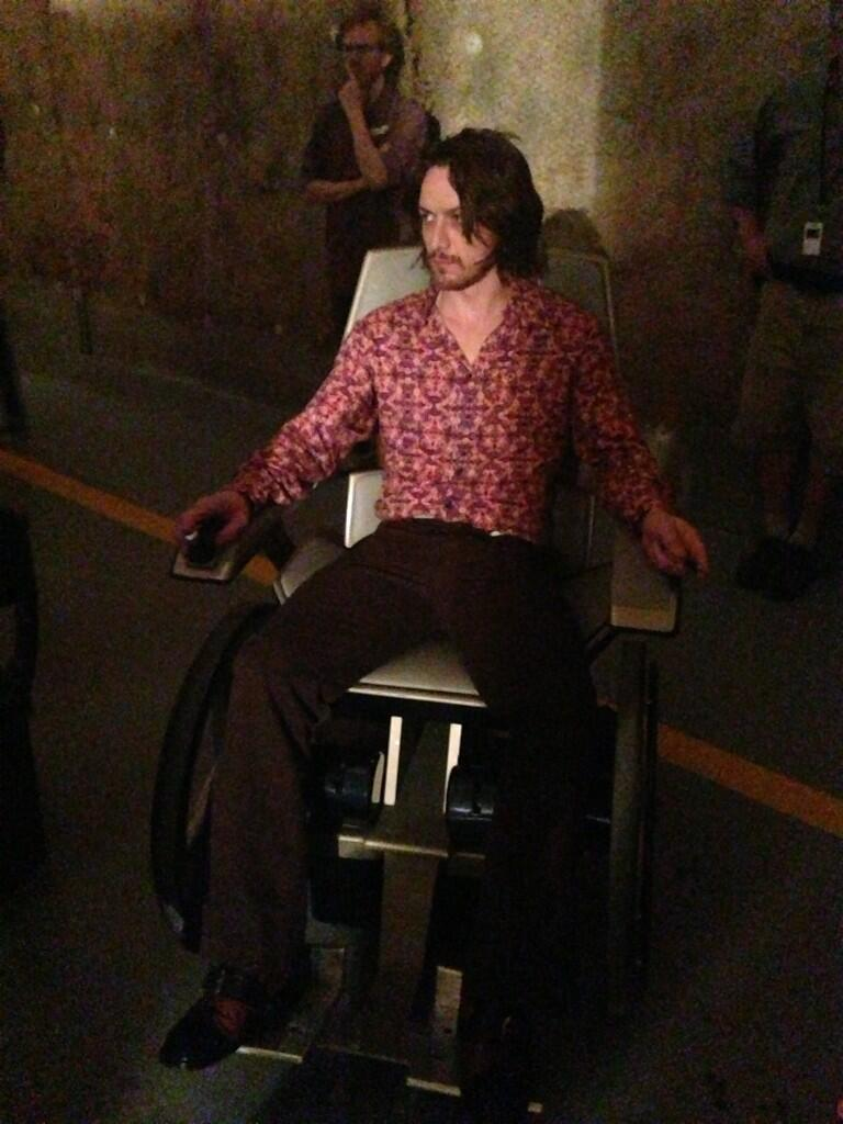 James McAvoy professor x behind the scenes on set of days of future past X-Men Days of Future Past behind the scenes photos basecamp aka mission control