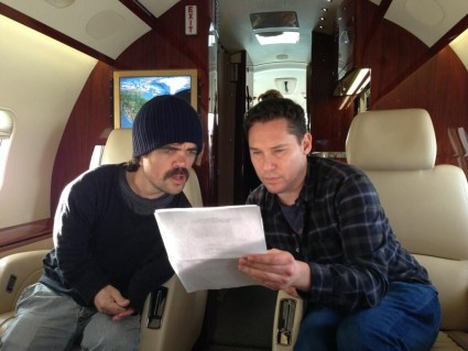 Bryan singer and peter dinklage days of future past behind the scenes still rare