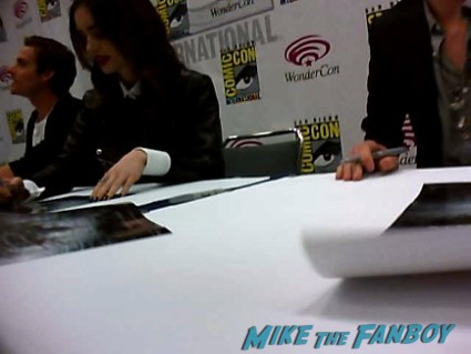 lily collins signing autographs at the Mortal Instruments autograph signing Cassandra Clare! Lily Collins! Jamie Campbell-Bower! Kevin Zegers! Autographs! Photos! More!