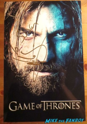 sexy Nikolaj Coster-Waldau signed game of thrones season 3 promo poster signing autographs for fans rare promo hot jamie lanister rare sex game of thrones season 3 photo