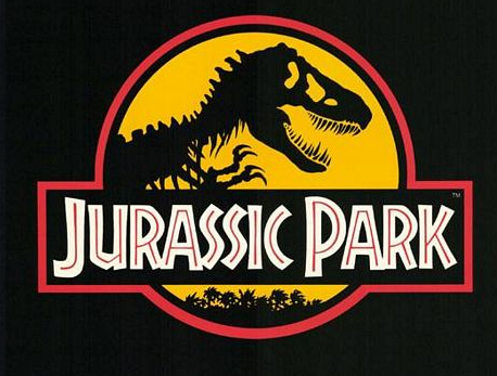 Jurassic Park logo rare movie poster Jurassic park logo title dinosaur peeking through the jungle