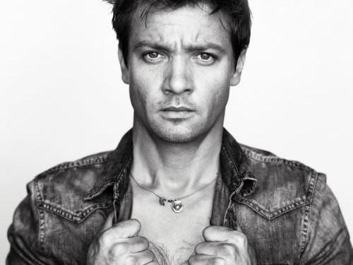 Jeremy Renner hot sexy shirtless promo photo gq magazine avengers photo shoot rare promo