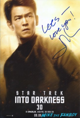 john cho signed autograph star trek into darkness individual promo poster rare