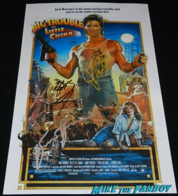 kurt russell john carpenter signed big trouble in little china mini movie poster signing autographs for fans hot sexy jack burton 028