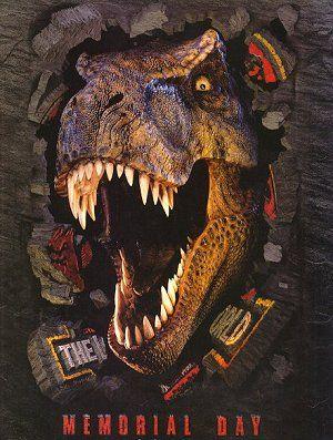 lost_world_jurassic_park_ver1 Jurassic Park logo rare movie poster Jurassic park logo title dinosaur peeking through the jungle