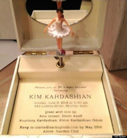 Kim Kardashian baby show invite rare kanye west