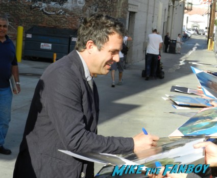 Mark Ruffalo signing autographs for fans at Jimmy Kimmel live