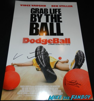 vince vaughn and ben stiller signed autograph dodgeball mini poster the internship movie premiere vince vaughn signing autographs 110