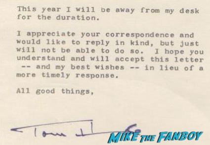 tom hanks refuses to sign fanmail sends form letter rejecting fans