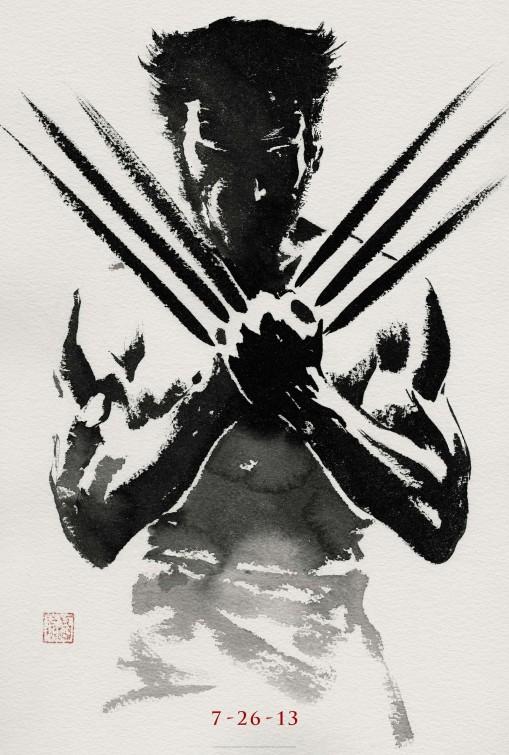 wolverine japanese paint brush design movie poster rare hot hugh jackman