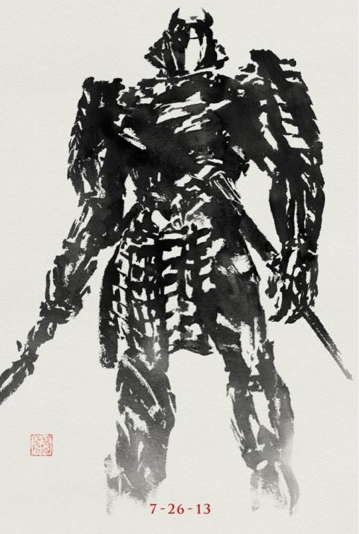 silver samurai wolverine japanese paint brush design movie poster rare hot hugh jackman