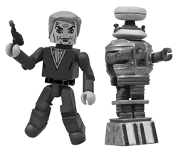 SDCC 2013 LOST IN SPACE BLACK-&-WHITE PREVIEWS EXCLUSIVE MINIMATES 2-PACK