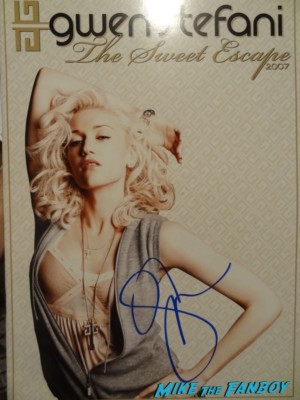 Gwen stefani signed the sweetest thing tour program GAvin Rossdale and gwen stefani no doubt signed autograph push and shove picture disc gwen stefani signing autographs for fans Gwen stefani signing autographs for fans at the Monsters university movie premiere