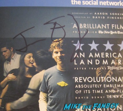 Jesse eisenberg signed autograph the social network dvd cover signing autographs rare promo now you see me q and a Zombieland signing